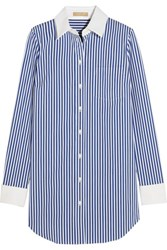 Michael Kors Collection Striped Stretch Cotton Blend Shirt Blue