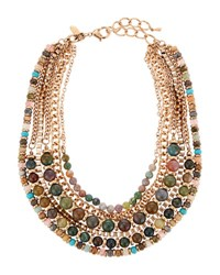 Emily And Ashley Six Row Mixed Chain Beaded Necklace Green