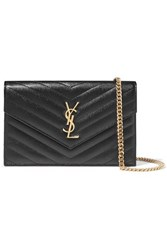 Saint Laurent Monogramme Quilted Textured Leather Shoulder Bag Black