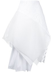 Maurizio Pecoraro Asymmetric Mesh Skirt Women Cotton 42 White
