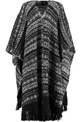 Line Blanche Fringed Alpaca Blend Cape Black