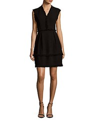 Rebecca Taylor Fringed Cotton Blend Dress Black