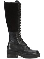 See By Chloe Knee High Combat Boots Calf Leather Suede Rubber 36.5 Black