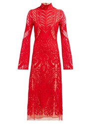 Galvan Oasis High Neck Embroidered Lace Dress Red