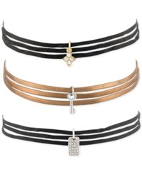 Rachel Roy 3 Pc. Set Suede And Leather Charm Chokers Multi