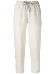 Le Tricot Perugia Slouch Trousers Women Linen Flax 44 Nude Neutrals