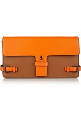 Tomas Maier Two Tone Leather Clutch Orange