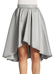 Abs By Allen Schwartz Pleated A Line Skirt Silver