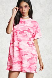 Forever 21 Cuffed Sleeve Camo Tee Pink Hot Pink