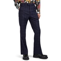 Martine Rose Checked Wool Flared Trousers Navy
