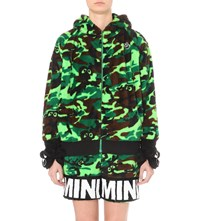 Mini Cream Bear Detail Camouflage Fleece Hoody Green Camo