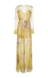Emilio Pucci Draped Silk Long Dress Yellow