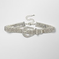 River Island Womens Silver Tone Sparkly Buckle Choker