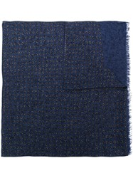 Isaia Dotted Print Scarf Blue