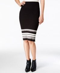 Bar Iii Striped Pencil Skirt Only At Macy's Black Combo