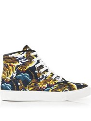 Kenzo Tiger Print High Top Lace Up Trainer Multicolur