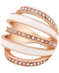 Guess Crystal Pave Five Band Curved Statement Ring Rose Gold