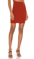 Marissa Webb Jesse Ribbed Trim Mini Skirt In Orange. Paprika
