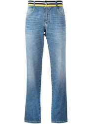 Ermanno Scervino Striped Waistband Straight Jeans Blue