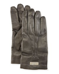 Red Valentino Lamb Leather Gloves Green Men's