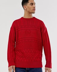 New Look Crew Neck Jumper With Usa Embroidery In Red