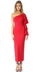 Torn By Ronny Kobo Carmen One Shoulder Dress Red Ponte