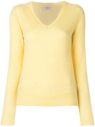 Liska Classic V Neck Jumper Yellow And Orange