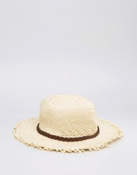 Asos Straw Festival Fedora Hat With Unfinished Brim Natural Beige
