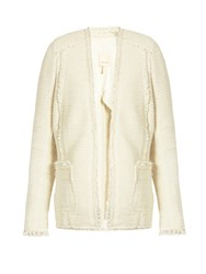 Rebecca Taylor Sparkle Stretch Tweed Blazer Cream