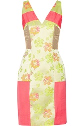 Matthew Williamson Paneled Neon Jacquard Chiffon And Shell Mini Dress Pink