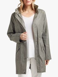 Four Seasons Linen Blend Hooded Parka Grey