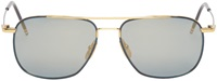 Thom Browne Gold And Navy Flash Aviator Sunglasses