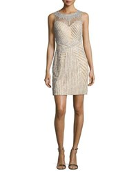 Jovani Beaded Strapless Illusion Cocktail Dress Silver Nude