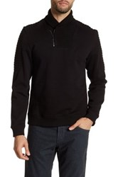 Calvin Klein Quarter Zip Ribbed Collar Pullover Black