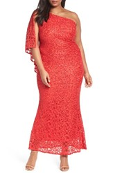 Marina Plus Size Women's Sequin Lace One Shoulder Gown Poppy