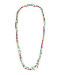 Panacea Long Multi Strand Bright Seed Bead Necklace