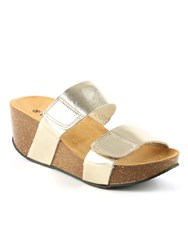 Daniel Harlesdon Mid Wedge Mule Sandals Metallic