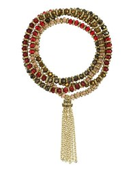 Laundry By Shelli Segal Beaded Wrap Bracelet Red
