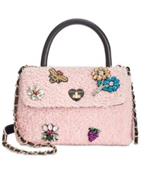Betsey Johnson Embellished Boucle Small Top Handle Bag Blush