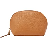 Fossil Domed Leather Cosmetics Bag Camel