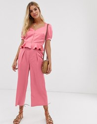 Moon River Satin Buckle Trousers Pink
