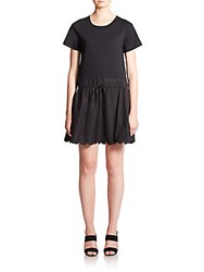 See By Chloe Scalloped Poplin T Shirt Dress Black