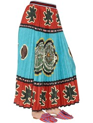 Stella Jean Printed Pleated Techno Georgette Skirt