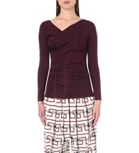 Anglomania Draped Stretch Jersey Top Bordeaux