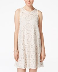 American Rag Juniors' Lace Illusion Shift Dress Only At Macy's Egret Combo