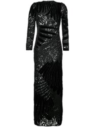 Romance Was Born Feather Applique Gown Women Silk Polyester Sequin 10 Black