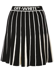 Off White Contrasting Pleated Skirt Black