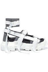 Rick Owens Woman Buckle Detailed Leather And Woven Platform Sandals White
