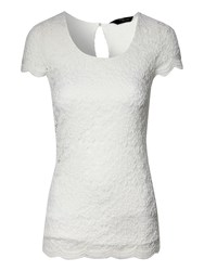 Jane Norman Lace Scalloped T Shirt Ivory