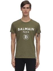 Balmain Flocked Logo Cotton Jersey T Shirt Army Green